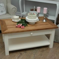 Coffee Table Gustavia Coffe With Drawer Cottage Style Material Pine Only