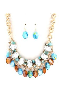 Beverly Necklace in Blue Murano Glass on Emma Stine Limited