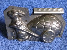 Antique German Easter Chocolate Mold/Rabbit-Bunny Pulling Easter Egg Cart/#311