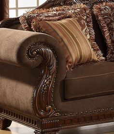 Odessa-Traditional Brown Wood Trim Chenille Sofa Co&; Odessa-Traditional Brown Wood Trim Chenille Sofa Co&; Loveseat Living Room, Brown Living Room Decor, Farm House Living Room, Living Room Sets, Chenille Sofa, Trendy Living Rooms, Brown Wood Chair, Couches Living Room, Brown Living Room