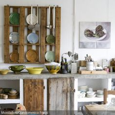 Arbeitsplatte aus Beton -kueche-ideen-holz-schubladen-regal ...   {Küchen ideen selber machen 25}