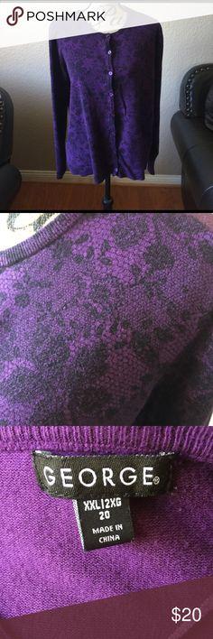 Purple Cardigan Purple/black long sleeve cardigan. Size 20 in good condition George Sweaters Cardigans