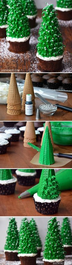 These are so cute, but would I really have the patience to make these? (likely not) Christmas Tree Cupcakes #recipe from justataste.com
