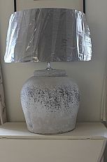 Large Chalky Grey- White Ceramic Lamp with Linen Shade in Taupe