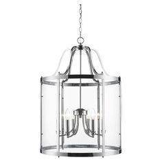6-light chandelier with a polished chrome finish.  Product: ChandelierConstruction Material: Steel and glass