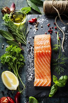 Delicious portion of fresh salmon by klenova on Creative Market