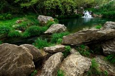 Garden of Eden. Image shows a small lake with a waterfall in the background and , Kai, Places In Greece, Small Lake, Garden Of Eden, Business Card Mock Up, Greece Travel, Countryside, The Good Place, Waterfall