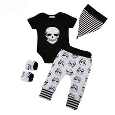913688464 Skull It 4 piece Newborn Baby Clothes Set with Short Sleeve Skull Print  Onesie/Romper