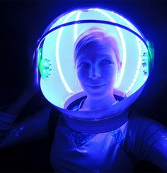 Out of this world DIY Light Craft: fantastical magical LED Astronaut Helmet! This inspires me, already starting to make my own with our bike lights here: http://www.flashingblinkylights.com/blue-led-strip-tape-lights-for-bike-frame.html