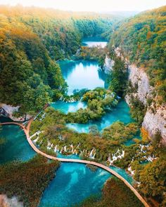 Spectacular emerald Plitvice Lakes, an ultimate bucket list trip that's located in one of the oldest national parks in Southeast Europe and the largest national park in Croatia Beautiful Waterfalls, Beautiful Landscapes, Plitvice Lakes National Park, Krka National Park Croatia, Les Cascades, Beautiful Places To Travel, Wonderful Places, Amazing Places, Beautiful World