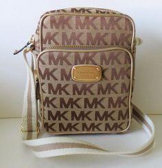 New Michael Kors Signature Flight Bag w/ Webbing Beige Ebony Gold #MichaelKors #MessengerCrossBody