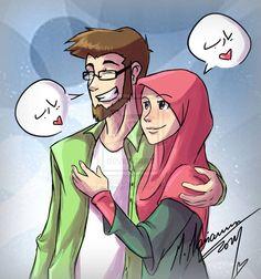 Cartoon Cute Muslim Couple Pic