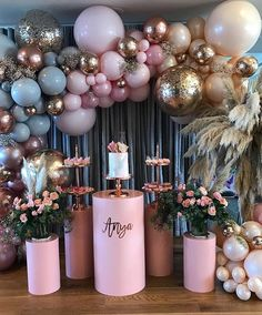 pink and gold party decor. Great for a birthday, bachelorette, bridal, or even a baby shower. Balloon Arch, Balloon Garland, Diy Garland, Balloon Pump, Balloon Wall, Baby Shower Decorations, Wedding Decorations, Parties Decorations, Baby Decor