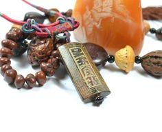 Ancient Fortune Script Carved Jade Amulet by FortuneJadeJewelry, £99.99