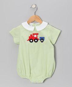 Lime Stripe Train Bubble Bodysuit - Infant