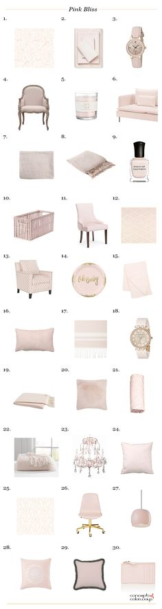 benjamin moore pink bliss, interior design product roundup, get the look, interior styling, pale pink, light pink, blush pink