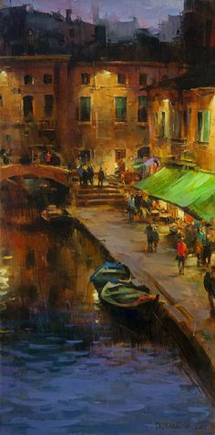 Artist: Dmitri Danish, Title: Night in Old Town - click to close window
