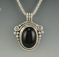 Sterling Silver Black Onyx Pendant One of a by DenimAndDiaJewelry