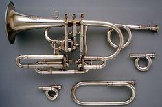 John Augustus Köhler (British, London ca. 1810– 1878 London). Cornet (Trumpet) in B-flat, ca. 1849. Brass, silver-plated. The Metropolitan Museum of Art, New York. Purchase, Amati Gifts, 2002 (2002.189a–f). #MetMusic