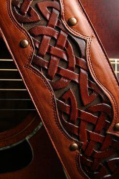 "Leather Guitar Strap: brown leather guitar strap with a celtic design ""Celtic Sunrise Guitar Strap"""