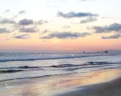 """""""Horizon Sunset""""-Colorful sunset at Huntington Beach, CA. Oil rigs in the distance. Fine Art Print. Professionally printed upon order. My photographs are professionally printed with archival inks on p"""