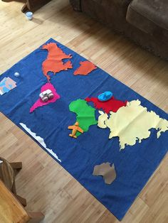 Jo ann stores novelty cotton fabric world map panel telas mapas floor map made using joann world map novelty fabric on one side and denim on the gumiabroncs Image collections