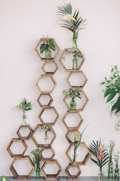 41 Edgy Modern Wedding Ideas You'll Love: modern wedding decor of wooden hexagons and greenery