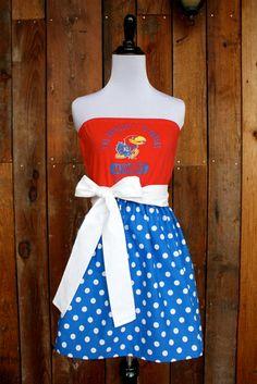 University of Kansas KU Jayhawks Game Day Strapless Dress - Size Small by Jill Be Nimble on Etsy.