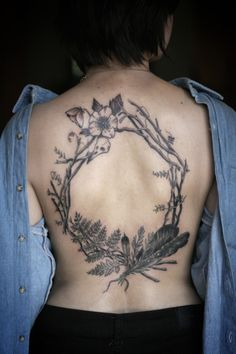 alice carrier | hellebore, crow skull, vetch, poison hemlock, feathers, juniper, and twigs | tattoo | ink
