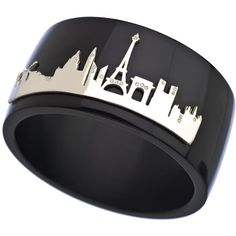 Black and Silver Paris Skyline Wide Bangle (215 CAD) ❤ liked on Polyvore featuring jewelry, bracelets, accessories, rings, bijoux, fashion jewelrybracelets, sterling silver jewelry, bangle jewelry, wide bangle bracelet and black and silver jewelry
