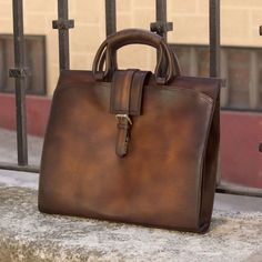 Handcrafted Custom Made Luxury Briefcase in Cognac, Medium Brown and Dark Brown Painted Calf Leather From Robert August. Create your own custom designed shoes. Custom Made Shoes, Custom Design Shoes, Calf Leather, Leather Bag, Brown Paint, How To Make Shoes, Medium Brown, Leather Design, Leather Backpack