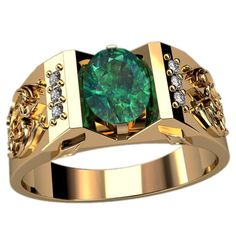 Mens ring -  Gold: 750 * Emerald - 2,5ct, Diamonds - 0,36ct. F / VVS