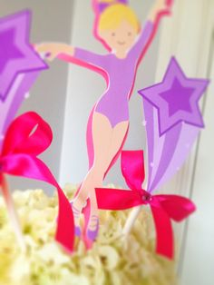 Gymnastics Birthday Party Centerpiece picks by TakeitPersonallybyM, $12.00