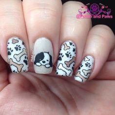 Polish and Paws: Nail Art ~ Born Pretty Store Plate Dog Nail Art, Nail Art For Kids, Animal Nail Art, Dog Nails, Cute Nail Art, Cute Acrylic Nails, Cute Nails, Panda Nail Art, Nail Art Designs