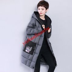 8c5a020670ae Women s Long Down Jackets Plus Size Hooded Print Korea Cocoon Style Coats