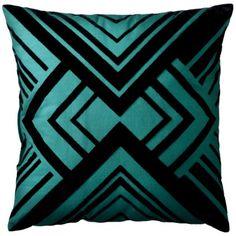 Patch Geometric Pillow - Green/Black