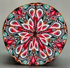 Polymer Clay Kaleidoscope Cane  'Strawberry Fields' by ikandiclay, $16.00