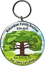 Family Reunion Favors Idea - Personalized key chains with a FamilyTree! More family reunion favors at  http://www.photo-party-favors.com/family-reunion-favors.html