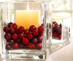 Vase filler - cranberries  I love this for Christmas.