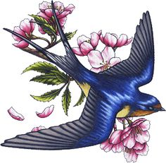 Flowers And Swallow Tattoo Design : Swallow Tattoos Barn Swallow Tattoo, Swallow Tattoo Design, Swallow Bird Tattoos, Tattoo Bird, Ramo Tattoo, Golondrinas Tattoo, Bluebird Tattoo, Natur Tattoos, Sparrow Tattoo