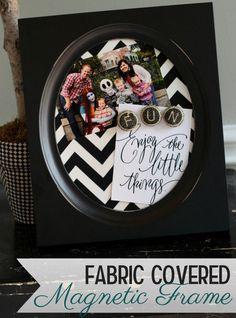 Fabric Covered Magnet Frame by @Kristyn {lilluna.com} #MichaelsFabric