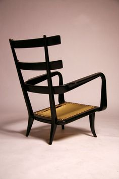 Giuseppe Scapinelli; Lacquered Wood Frame Armchair, 1960s.