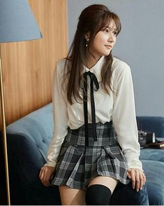 Preppy Outfits, Western Outfits, Fall Outfits, Cute Outfits, Fashion Outfits, Cute School Uniforms, School Uniform Fashion, Kim Sae Ron, Kim So Eun