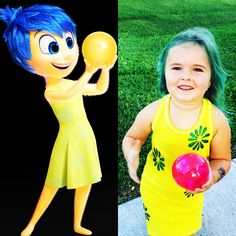 """Homemade Joy costume from inside out. Hand dyed size 16 girls tank top from Target. Glitter blue fabric paint for the flowers. I colored her hair with blue food coloring and vinegar. The """"memory"""" is a bouncing ball that lights up also from Target. #homemade #insideout #joy"""