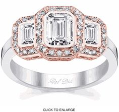 Three stone halo setting in rose and white gold - perfect for emerald cut diamonds.  So beautiful!