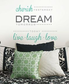 Colorful Peel & Stick Wall #Quote - CHERISH,DREAM,LIVE Shop here --> http://www.sparklyexpressions.com/#1242