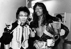 """Adam Ant and Rick James backstage at a taping of """"Solid Gold"""" in 1981."""