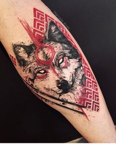 40 Masculine Wolf Tattoo Designs For Men - Beste Tattoo Ideen Wolf Tattoos, Tribal Tattoos, Tatoos, Wolf Face Tattoo, White Wolf Tattoo, Geometric Wolf Tattoo, Geometric Animal, Cat Tattoos, Henna Tattoos