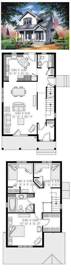 Contemporary House Plan 65286   Total living area: 1310 sq ft, 3 bedrooms & 1.5 bathrooms. #contemporary #houseplan