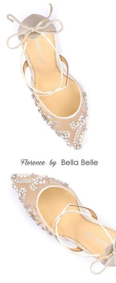 """- Florence - 'Enchanted' bridal collection - Hand beaded with milky teardrop stones and beads - Cross ankle straps - Lovely tied bow at heel cups - Intricate and luxurious - Ivory - 3 3/4"""" inch heels"""